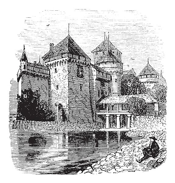 Chillon Castle or Chateau de Chillon in Veytaux, Switzerland, during the 1890s, vintage engraving