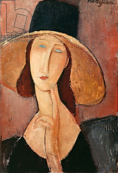 Постер Модильяни Амедео (Amedeo Modigliani) Portrait of Jeanne Hebuterne in a large hat, c.1918-19