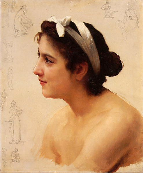 Постер Бугеро Вильям (Adolphe-William Bouguereau) Etude dune femme, pour offrande a lamour