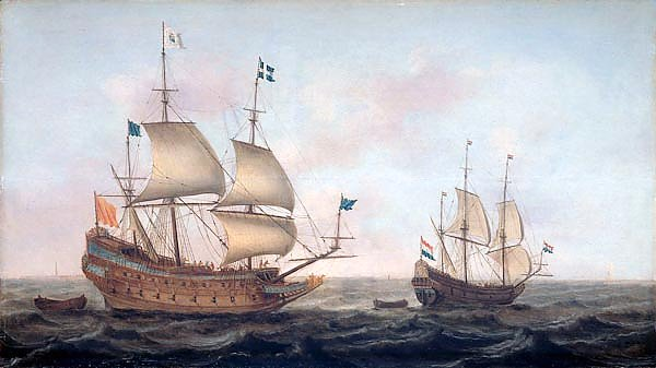 French man-of-war escorted by a Dutch ship in quiet water