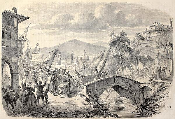 People reaching Florence from Tuscany to vote annexation to Italian State. Original, from drawing of